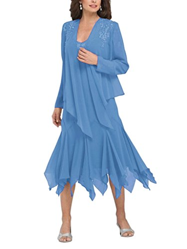 Blue Jacket S Of Women's Dress Ruffles Bride D The With Mother Chiffon H 7OPTWqdwP