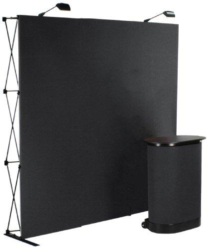 (Displays2go Display Booth Straight 10-Feet Wall, Black Velcro Receptive Fabric Panels (TEPUV8KS))