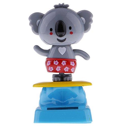 Jili Online Solar Powered Dancing Toy Office Desk & Car Decoration Home Window Decoration Grey Koala Figure Figurine Toy -