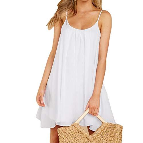 Mingriya Women's Silk Dress Sleeveless Flowing Short Sundress (White, X-Large) (White Chiffon Short Dress)