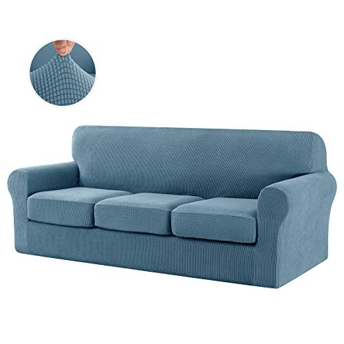 CHUN YI Stretch Sofa Slipcover Separate Cushion Couch Cover, Armchair Loveseat Replacement Coat for Ektorp Universal Sleeper, Checks Spandex Jacquard Fabric (Large,Smoky Blue)