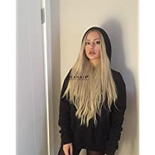 HEAHAIR Ombre Blonde Lace Front Wigs 2 Tone Color Long Natural Hairline Straight Heat Resistant Synthetic Hair