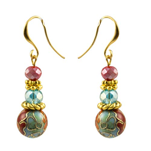 Just Give Me Jewels Japanese Cloisonne Flower Bead and Faceted Blue and Red Beads That Dangle Fish-Wire Earrings