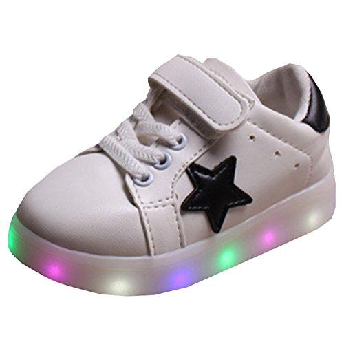 Highdas Zapatos de iluminación Niño Niña Prewalker de Flash blanco