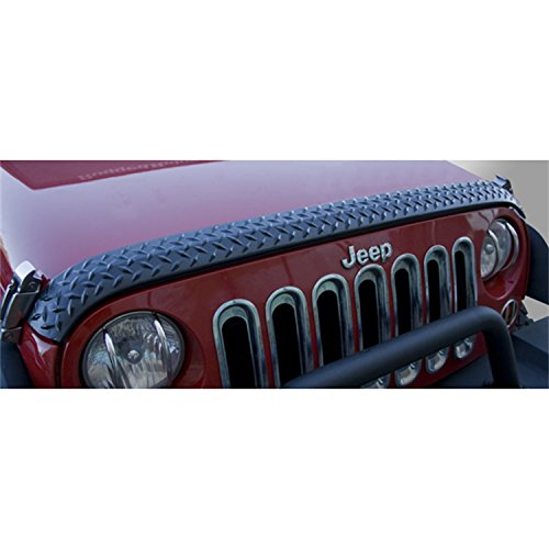 Rugged Ridge 11651.17 Black Diamond Plate Hood Stone Guard Jeep Wrangler Diamond Plate
