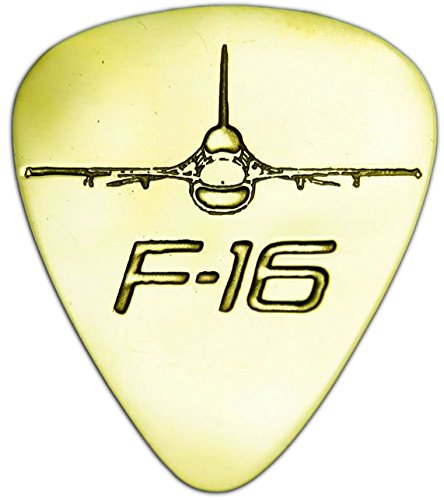Unique & Custom [0.38mm Thin Gauge - Traditional Style Semi Tip] Hard Luxury Guitar Pick Made of Genuine Solid Brass w/ F-16 Military Air Force Fighter Jet Design