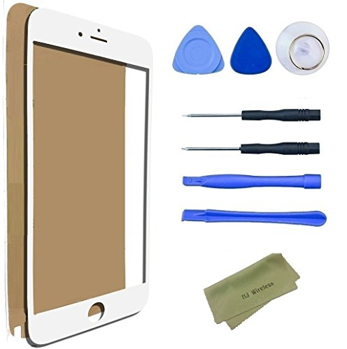 iPhone 6 Plus / 6s Plus Broken Screen Replacement Repair Kit including Replacement Glass / Tools / Adhesive Sticker Tape / Microfiber Cleaning Cloth / Lens (White)