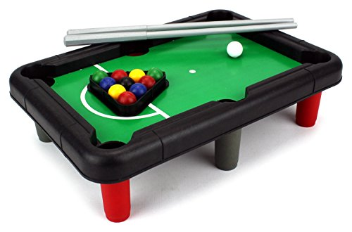 VT Mini Billiards Novelty Toy Billiard Pool Table Game w/ Table, Full Set of Balls, 2 Cues, Triangle