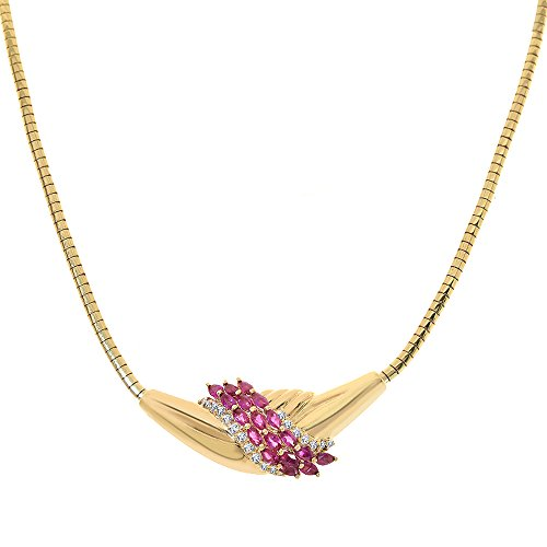 Avital & Co. 1.90 Carat Marquise Ruby and Diamond Estate 14K Yellow Gold Necklace