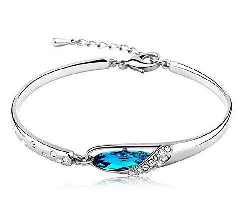 Bracelet Crystal Silver Sterling (Tzou Fashion Womens 925 Sterling Silver Crystal Bracelet Bangle)