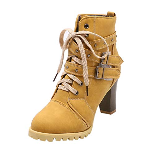 LONGDAY ⭐ Belt Wrapped Boot Women Mid Calf Boot Heels Lace Up Martin Bootie Round Toe Winter Autumn Shoe Western Cowboy Yellow