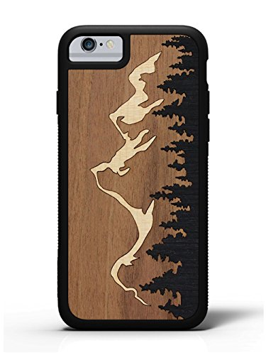 Leather Inlay Top - iPhone 6/6s Grand Teton Inlay Wood Traveler Case by Carved, Unique Real Wooden Phone Cover (Rubber Bumper, Fits Apple iPhone 6/6s)