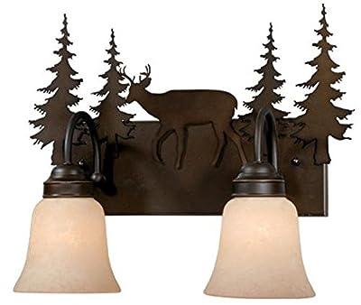 Vaxcel USA VL55402BBZ Bryce 2 Light Rustic Bathroom Vanity Lighting Fixture in Bronze, Glass
