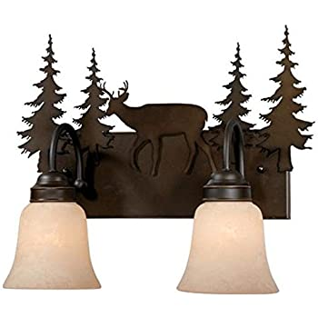 Commercial electric rustic iron 3 light vanity with antique ivory vaxcel usa vl55402bbz bryce 2 light rustic bathroom vanity lighting fixture in bronze glass mozeypictures Image collections