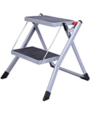 REDCAMP Small Step Ladder 2 Step Stool Folding, Portable Sturdy Metal Small Ladder for Home Kitchen Household Closet, Grey 250lbs