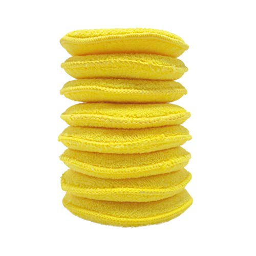 Polyte Microfiber Detailing Wax Applicator Pad, 5 in, (Yellow, 8 Pack)