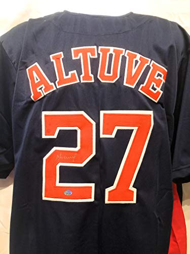 Jose Altuve Houston Astros Signed Autograph Blue Custom Jersey GTSM Altuve Player Hologram