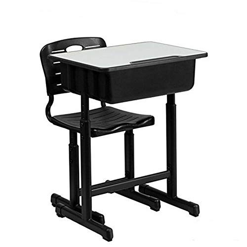 Price comparison product image Adumly Adjustable Height Student Desk and Chair with Black Pedestal Frame