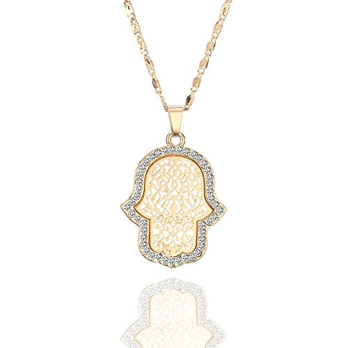 Women's Choker Necklace,Shiny Hamsa Hand Pendant Necklace for Girls Long Chain Necklace with CZ Crystal Dazzling Rhinestone Necklace (Gold Plated Hamsa Hand)