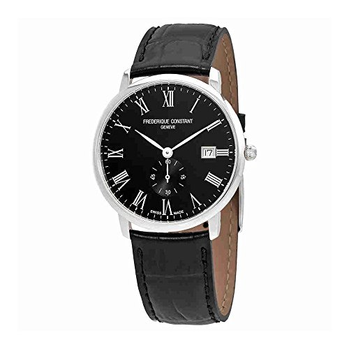 Frederique Constant Mens Slimline Black Dial Leather Band Watch FC245BR5S6