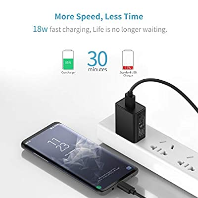 Cluvox USB C Fast Charger Kit, Compatible for Samsung Galaxy S20/Plus/Ultra/S10/S10e/S9/S8/Note 10/9/8/A20/A50, Quick Charge 3.0 Charger Set, Rapid Car Adapter + Wall Charger with 2 Type C Cords 3ft
