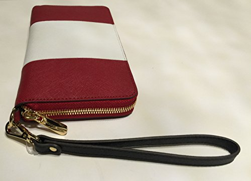 e997089715ae Michael Kors iPhone 6 Plus Large Zip Wristlet Clutch Wallet Red White Black  Saffiano Leather