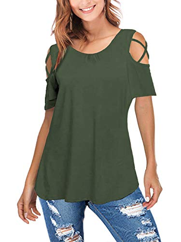 (Amoretu Women's Short Sleeve Strappy Cold Shoulder Tunic Tops Ruffle T Shirt(Olive Green,S))