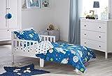 Bloomsbury Mill - 4 Piece Toddler Comforter Set - Outer Space, Rocket & Planet - Blue - Kids Bedding Set