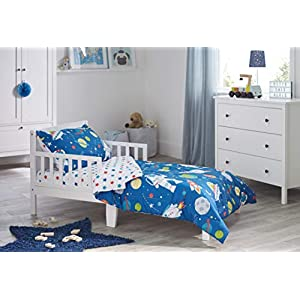 Bloomsbury Mill - 4 Piece Toddler Comforter Set - Outer Space, Rocket & Planet - Blue - Kids Bedding Set 12
