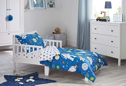 Bloomsbury Mill - 4 Piece Toddler Comforter Set - Outer Space, Rocket & Planet - Blue - Kids Bedding Set