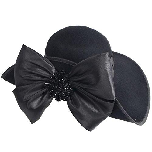 HISSHE Women 100% Wool Bow Rhinestone Church Winter Wedding Party Hat (Black)