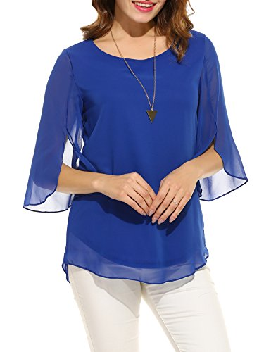 ACEVOG Women's Cute 3/4 Sleeve Chiffon Blouse Casual Top Shirts (Blue XL)