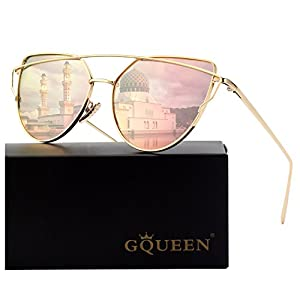 GQUEEN Cat Eye Mirrored Flat Lenses Street Fashion Metal Frame Polarized Sunglasses for Women,Gold Pink