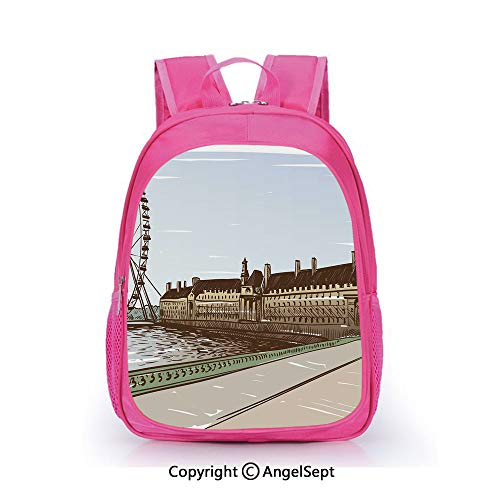 Custom Kid's Backpack Waterproof Cartoon Picture,Buckingham Palace Historical Building Thames River Ferris Wheel Pencil Drawing Art Decorative Multicolor,15.7inch,School Bag For Unisex Kids