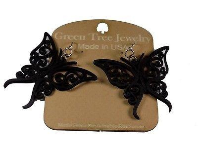 Green Tree Jewelry Black Satin Fancy Butterflies Wood Laser Cut Earrings #1152 (Black Butterfly Earrings)