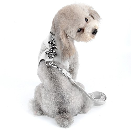 (SELMAI Dog Vest Harness and Leash Set for Small Pet Puppy Doggie Cat Girl Soft Suede Leather Collar Adjustable No Pull Bling Rhinestone Decoration Chihuahua Walking Running Sport Training Lead Gray L)