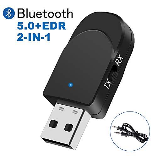 🥇 TouchSKY Adaptador de Bluetooth 5.0, 2-en-1 Receptor Bluetooth y Transmisor Bluetooth,Plug and Play Compatible con Auriculares/ Altavoces/Teclados/Ratónes ,con modo de conmutación TX / RX