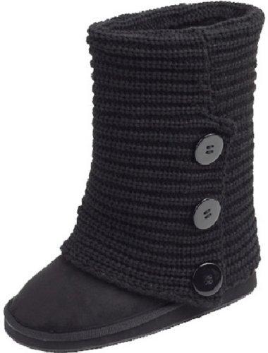 Knit Boots (Womens Rib Knit Sweater Crochet Boots (8, Black Triple 91006))