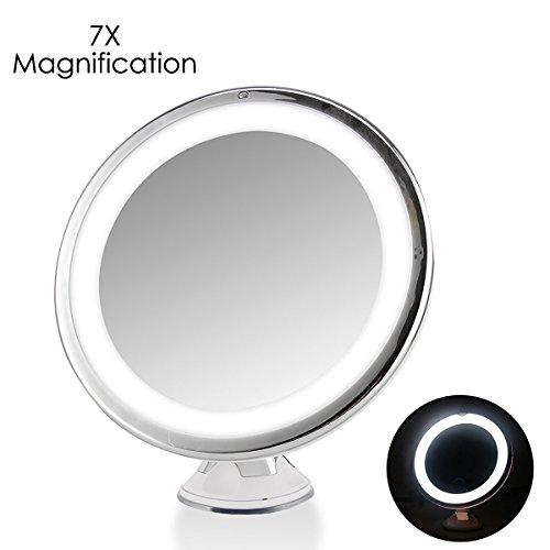 Kosmetikspiegel 7 X Vergrößerung mit LED Beleuchtung ,SOONHUA 360° Drehbar Touch Control On / Off-runde Form LED beleuchteter Rasierspiegel Badezimmer Schminkspiegel dimmbares Licht mit starken Saugnap