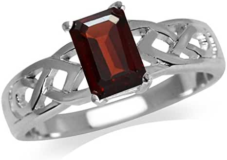 1.2ct. Natural Garnet 925 Sterling Silver Celtic Knot Solitaire Ring