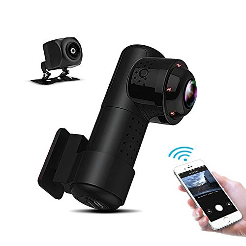 Yakola Y9 WiFi DashCam, Dual Mini Car Camera, Full HD2160P Front Camera with 720PAHD Rear View Camera, 360° Panorama Fisheye Lens, Infrared Night Vision, Parking Monitor, G-Sensor, Loop Recording ...