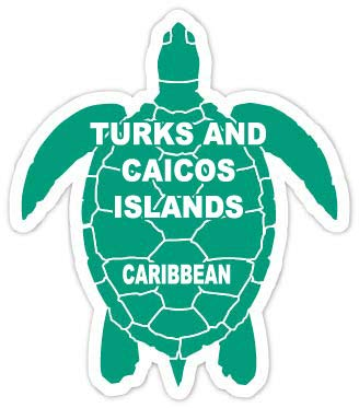 R and R Imports Turks and Caicos Islands Caribbean 4 Inch Green Turtle Shape Decal Sticke