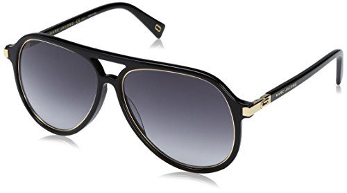 Marc Jacobs Men's Marc174s Aviator Sunglasses, Black Gold/Dark Gray Gradient, 58 - Aviators Marc Jacob