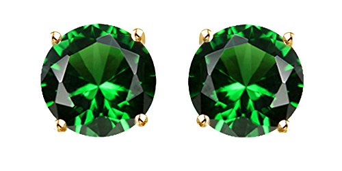 Round Shape Simulated Green Emerald Stud Earrings In 10K Solid Gold ()