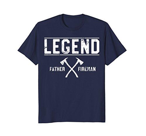 (Mens Father. Fireman. Legend. Firefighter T-Shirt Gift For Dad XL Navy)