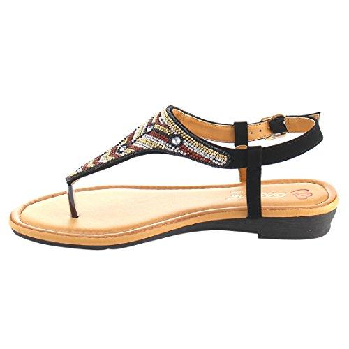 Dbdk Ae74 Sandali Donna Con Cinturino Alla Caviglia Perizoma In Bohemia Con Perline Nere