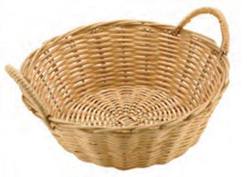 Paderno World Cuisine Dual-Handled Round Polyrattan Bread Basket, 9-Inch