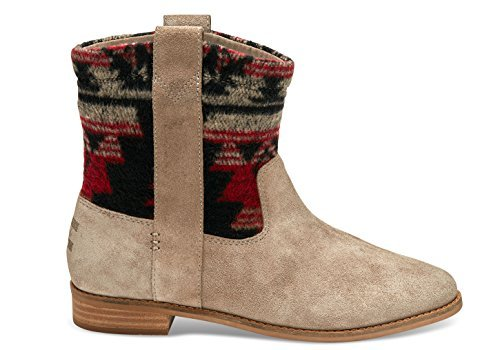 TOMS Women's Laurel Boot Desert Taupe Suede/Tribal Wool Boot 7 B (M)