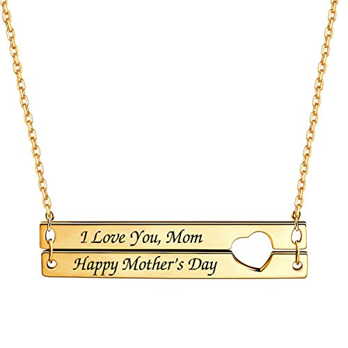 (Personalized Double Bar Necklace with Heart Nameplate EngravedNecklace Custom Jewelry for Women)