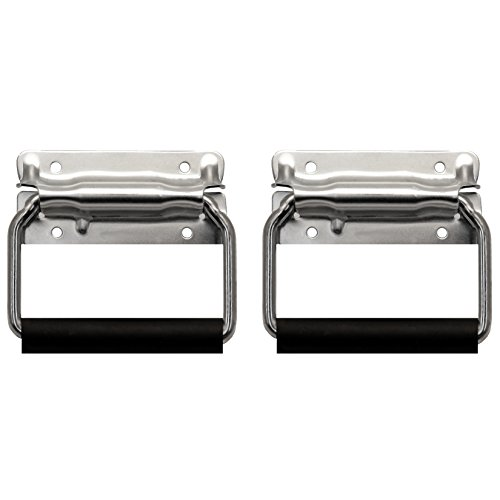 Heavy Duty Handle Grip - TCH Hardware 2 Pack Large Spring Loaded Heavy Duty Steel Surface Mount Handle with Padded Grip - Zinc Finish Flight Road Case Chest Cabinet